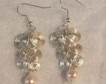 Egyptian Coil FreshWater Pearl Silver Plated Earrings