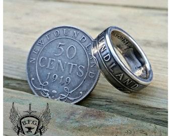 NewFoundland Half Dollar Coin Ring 90% Silver
