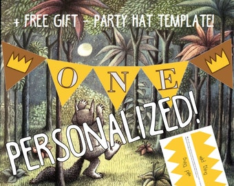 Happy 1st Birthday Personalized Where the Wild things are party banner Custom name banner wild things inspired, maurice sendak birthday