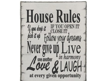 House Rules Wooden Sign