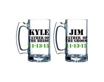 Father of the Bride, Father of the Groom, Personalized Beer Mugs set of two With date. 26 oz.