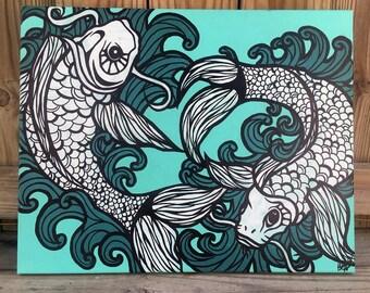 Original Koi Fish Painting