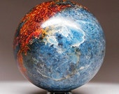 Rarest ! Large Ruby in Deep Blue Kyanite Crystal Sphere Ball ~ Feng Shui Home Decor ~ SPH114