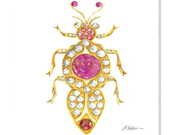 Bug Brooch Watercolor Rendering in Yellow Gold with Diamonds, Pink Sapphires, Rubies, and Hessonite Garnet printed on Canvas