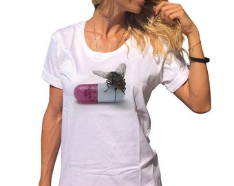 New White Cotton Quote Print T-shirt, Oversize Loose Tshirt, Extravagant Plus Size Casual Top by SSDfashion
