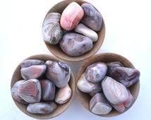 Pink Botswana Agate tumblestone, polished crystal one piece