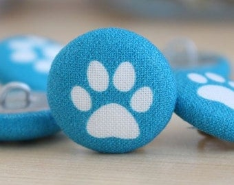 Fabric Covered Buttons - Cat Pud on Teal - 1 Medium Fabric Buttons