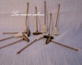 2 Balais rustiques MINIATURES.Lot de 2   1:12 ème et 10 ème