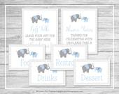 Elephant Baby Shower Table Signs - Printable Baby Shower Table Signs - Blue and Gray Elephant Baby Shower - EDITABLE - SP102