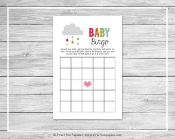 Rainbow Showers Baby Shower Baby Bingo Game - Printable Baby Shower Baby Bingo Game - Rainbow Baby Shower - Baby Bingo Game - SP100