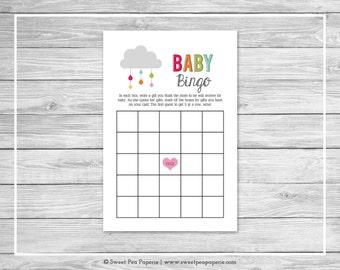 Rainbow Showers Baby Shower Baby Bingo Game - Printable Baby Shower Baby Bingo Game - Rainbow Baby Shower - Baby Bingo Game - SP100