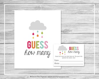 Rainbow Showers Baby Shower Guess How Many Game - Printable Baby Shower Guess How Many Game - Rainbow Baby Shower - Candy Guess Game - SP100