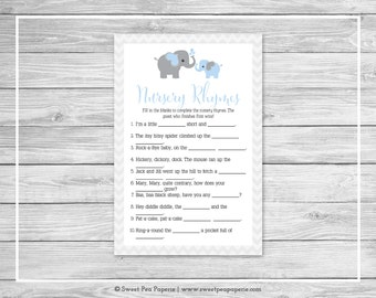 Elephant Baby Shower Nursery Rhyme Game - Printable Baby Shower Nursery Rhyme Game - Blue and Gray Elephant Baby Shower - SP102