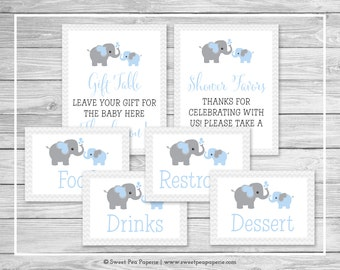 Elephant Baby Shower Table Signs - Printable Baby Shower Table Signs - Blue and Gray Elephant Baby Shower - EDITABLE - SP102