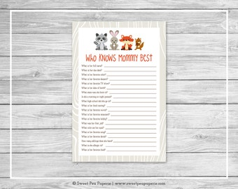 Woodland Animals Baby Shower Who Knows Mommy Best Game - Printable Baby Shower Who Knows Mommy Best - Woodland Animals Baby Shower - SP105