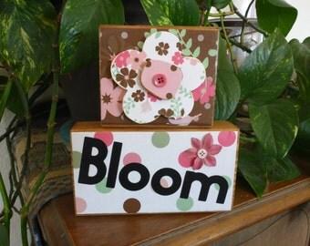 """Homemade wood block sign """"Bloom"""": flowers gift mom all occasion garden gardener summer spring"""