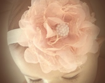 Newborn headband.Baby girl headband.Flower headband. christening headband
