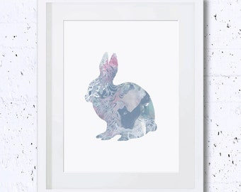 Rabbit, Blue, Rabbit Silhouette, Paisley, Nursery Rabbit Print, Printable Art, Downloadable, Wall Decor, Minimal Art, Minimalist