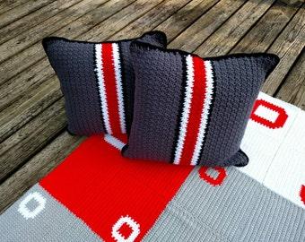 Ohio State Helmet Throw Pillows - Ohio State Crochet Bedding