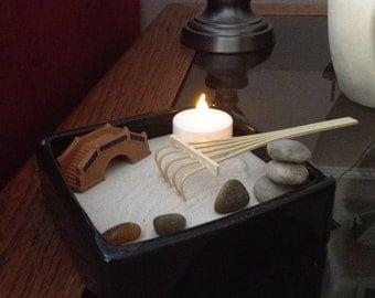 Mini miniature Zen Garden with hand balanced cairn