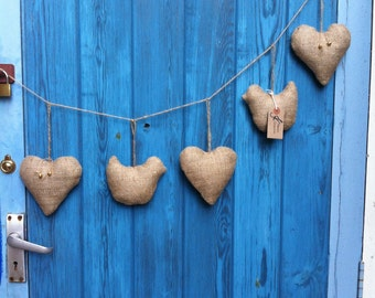 Handmade natural hessian hearts and birds bunting. Rustic, shabby chic, gift, vintage. Christmas present.