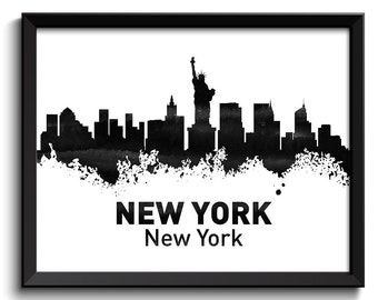 New York Skyline City Black White Grey Watercolor Cityscape Poster Print Modern Abstract Landscape Art Painting