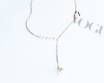 Silver Pearl Pendant Necklace 925 Silver Pearl Chain Pendant Necklace Simple Elegant Everyday Wedding Bridal Bridesmaid Birthday Gift