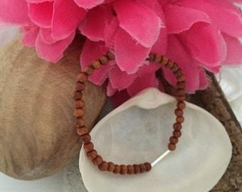 Little bead stacker-Stacker bracelet- silver bracelet - wooden beaded bracelet - frienship bracelet- boho bracelet -UK jewellery