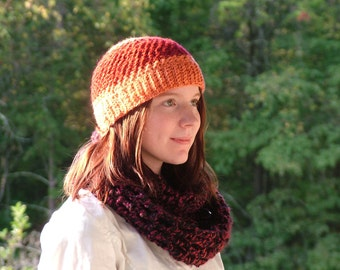 Red and Orange - Hand Crocheted Hat