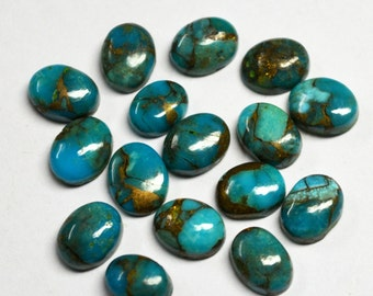 Wholesale Lot Of Natural Blue Copper Turquoise 7X9 mm Oval Shape Loose Gemstone Cabochon