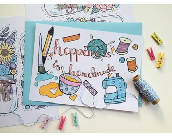 """A5 """"happiness is handmade"""" quote Print"""