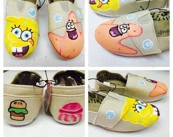 Sponge Bob and Patrick Themed Bob/Tom Like Shoes- Womens/Kids