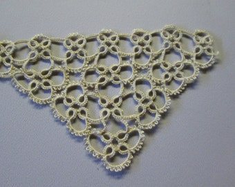 "Tatting, 2 Pieces of Vintage 1910's Hand Tatted Edge 27 1/2"" Long, Ecru, 5 Points - Perfect Condition"