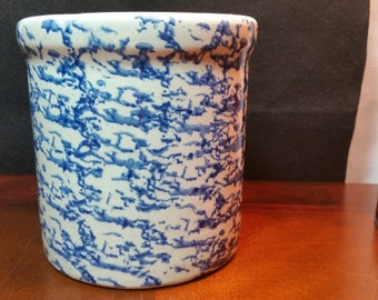 Blue Sponge Crock by Crock Shop - Santa Ana, Calif