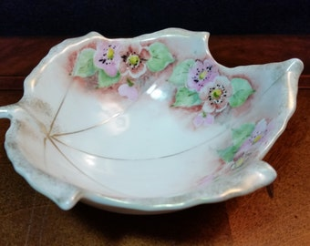Leaf Shaped Ardalt Lenwile China Dish with Hand Painted Flowers