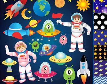 42 Space clipart , Outer Space Clipart , Astronauts clipart ,Space Clip Art Rocket UFO Alien Spaceship planet stars clipart Instant DOWNLOAD