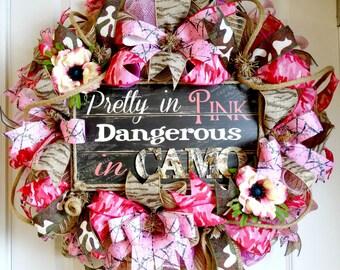 SALE(155)Deco Mesh Wreath-Burlap Mesh Wreath-Pink Camouflage Wreath-Pretty in Pink Wreath-Camo Wreath-Girls Room-Pink Camo-Front Door