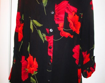 Chicos long sheer black and red long tunic blouse. Vintage  Generous Size 1. Washable rayon.