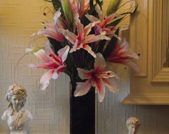 Highly relaistic pink silk stargazer lilies flower arrangement in a tall top quality mirror vase