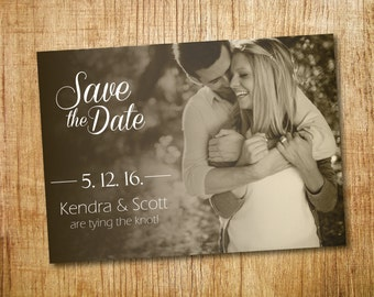 Hitched Together- Sepia Save the Date_ Printable
