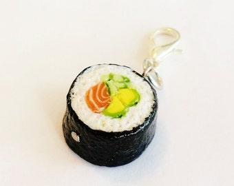 Handmade Sushi Charm Jewelry - Polymer Clay Food Sushi Charm - Miniature Food Jewelry Maki - Japanese Food Jewelry