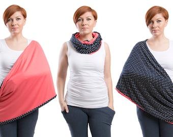 Nursing scarf, Infinity Scarf,  2in1 Nursing Cover, Nursing shawl, Breastfeeding cover, Coral Polka Dot