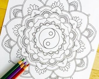 Mandala Utopia Hand Drawn Adult Coloring Page