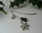 Longest Night Yule Christmas Bookmark ~ Tibetan Silver Bookmark with Snowflake Charms & Snowflake Obsidian Chips ~ Perfect Holiday Gift