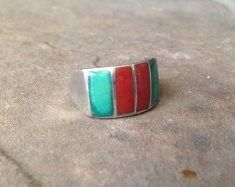 Sterling Silver Ring with Turquoise & Coral Stones Vintage Navajo Unsigned