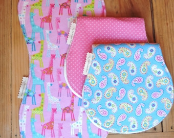 Organic Burp Cloths-Flannel Burp Cloth- Pink Burp Cloth Set-Giraffe Burp Cloth-Paisley Burp Cloth-Organic Bamboo Terry Cloth