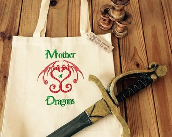 Bag Mother of Dragons Embroidered Canvas Bag Game of Thrones style Shopper Tote Handbag Gifts for Her