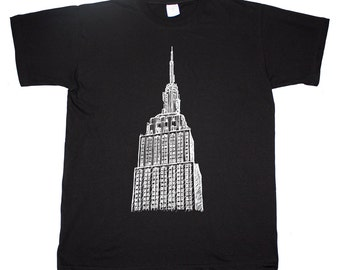 Empire State Building New York City Manhattan Hand Drawing Art Sketch T shirt