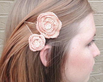 Ecru and Baby Pink Crochet Flower ~ Boby pin ~ Clips Set of two