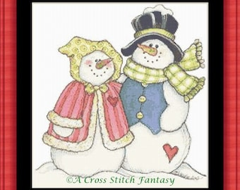 Mr. and Mrs. Snowman Counted Cross Stitch Pattern